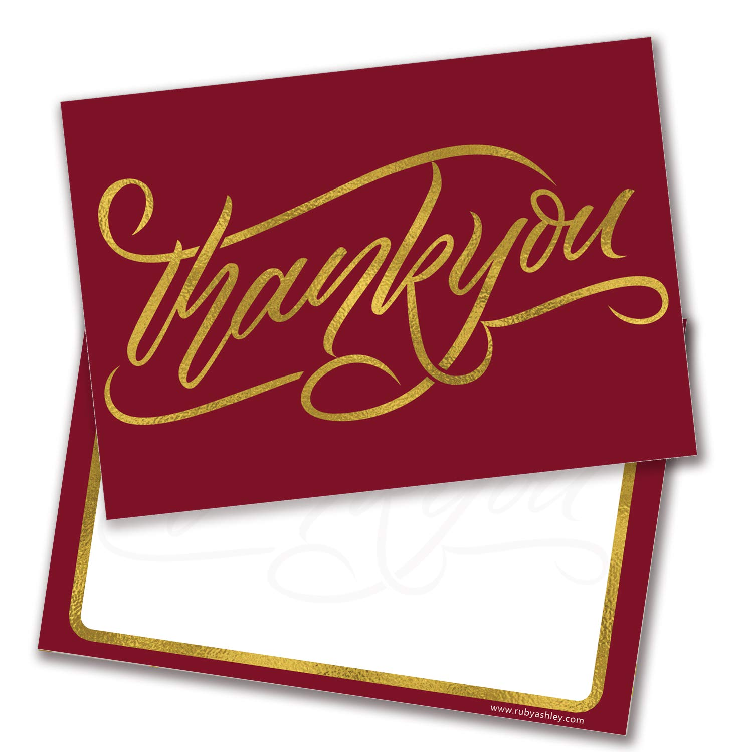Wine Red /& Gold Style Thank You Cards Pack of 10 - by Ruby Ashley Includes Envelopes