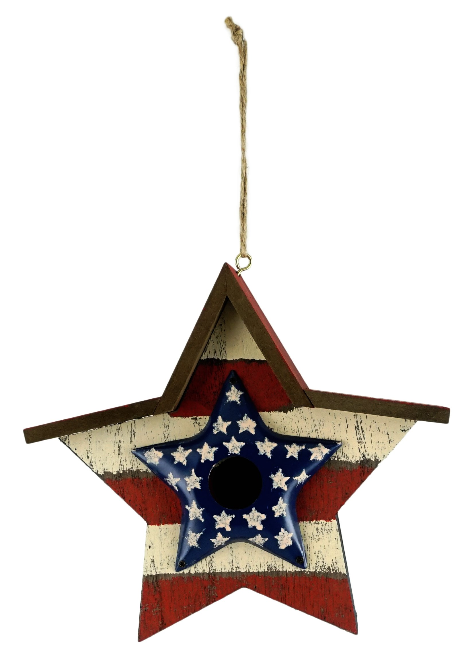 Gerson Patriotic Star Rustic Style Decorative Hanging Birdhouse