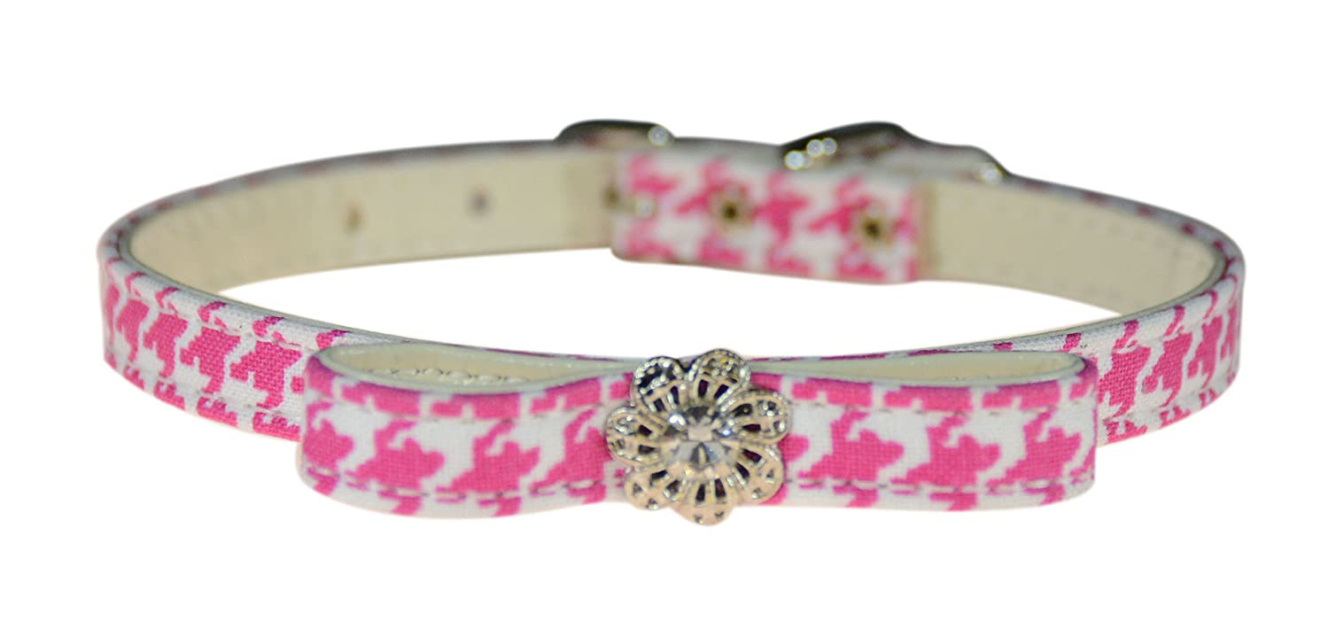 Evans Collars 3 8  Jeweled and Filigree Collar with Bow, Size 10, Houndstooth, Pink