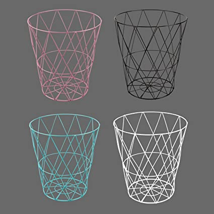 Wire Waste Paper Basket | Riya 4 Colours Metal Wire Waste Paper Bin Basket Paper Rubbish Bin