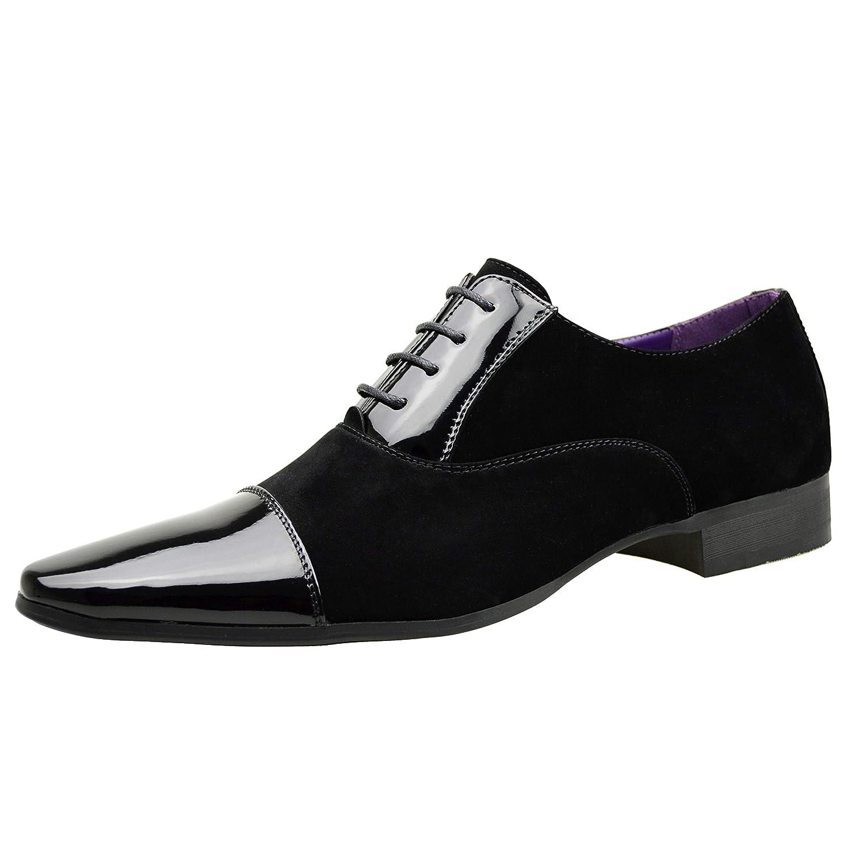 TALLA 41.5 EU. ClassyDude - Zapatos de cordones para hombre negro negro