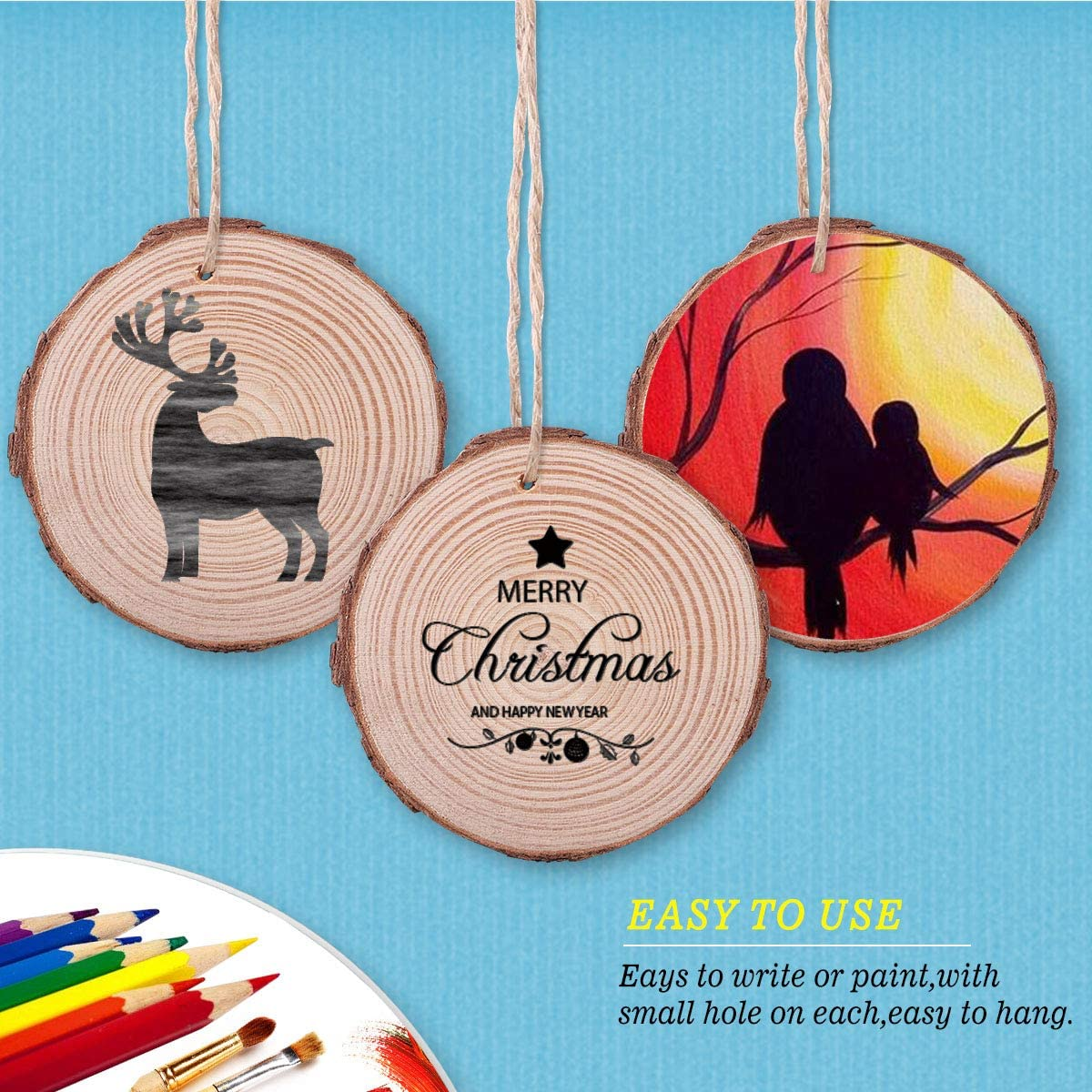 SanGlory Unfinished Wood Slices 30Pcs 2.4-2.8 Natural Craft Wood Circles with Hole Predrilled Blank Wood Burning Discs Wooden Ornaments with 33Ft Twines for DIY Crafts Christmas Hanging Decoration