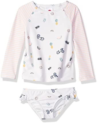 6f5ea700c3821 Amazon.com: Roxy Girls' Come on Board Long Sleeve Rashguard Swimsuit Set:  Clothing