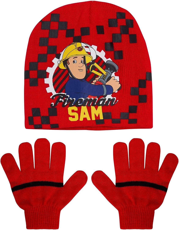 Sam Le Pompier Ensemble Bonnet et Gants dhiver en Laine Stretch pour gar/çon Cadeau de No/ël