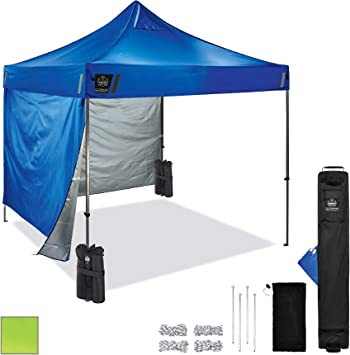 Amazon Com Pop Up Canopy Kit Includes Tent 2 Weight Bags 2 Side Panels 10 X 10 Shaded Area Peak Height 14 Ergodyne Shax 6051 Blue Home Improvement