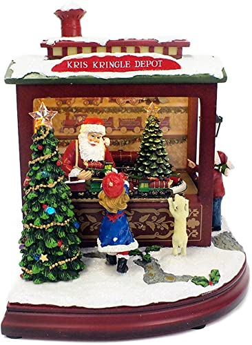 Roman Inc Amusements Animated Santas Train Shop Musical LED Light Up Christmas Figurine