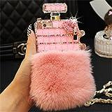 Fusicase for iPhone 7 Plus/iPhone 8 Plus Perfume Case Luxury Perfume Bottle Bling Rex Rabbit Fur Bling Diamond Hair…