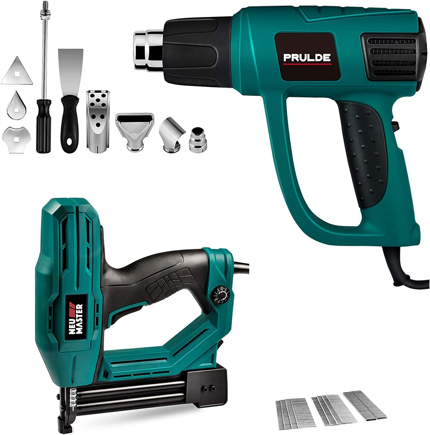 Electric Brad Nailer(1/4'' Narrow Crown Staples 400pcs and Nails 100pcs Included) and Variable Temperature Heat Gun with LCD Digital Display and 6 Nozzles Attachments