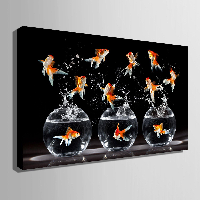 TT&ZHUANGSHI Ausgestreckte Leinwand-Kunst, Leinwand-Kunst, Leinwand-Kunst, die eine Goldfisch-Dekoration-Malerei aufprallt, 50  70 B077YK3ZQV    Ausgezeichnetes Preis  301f07