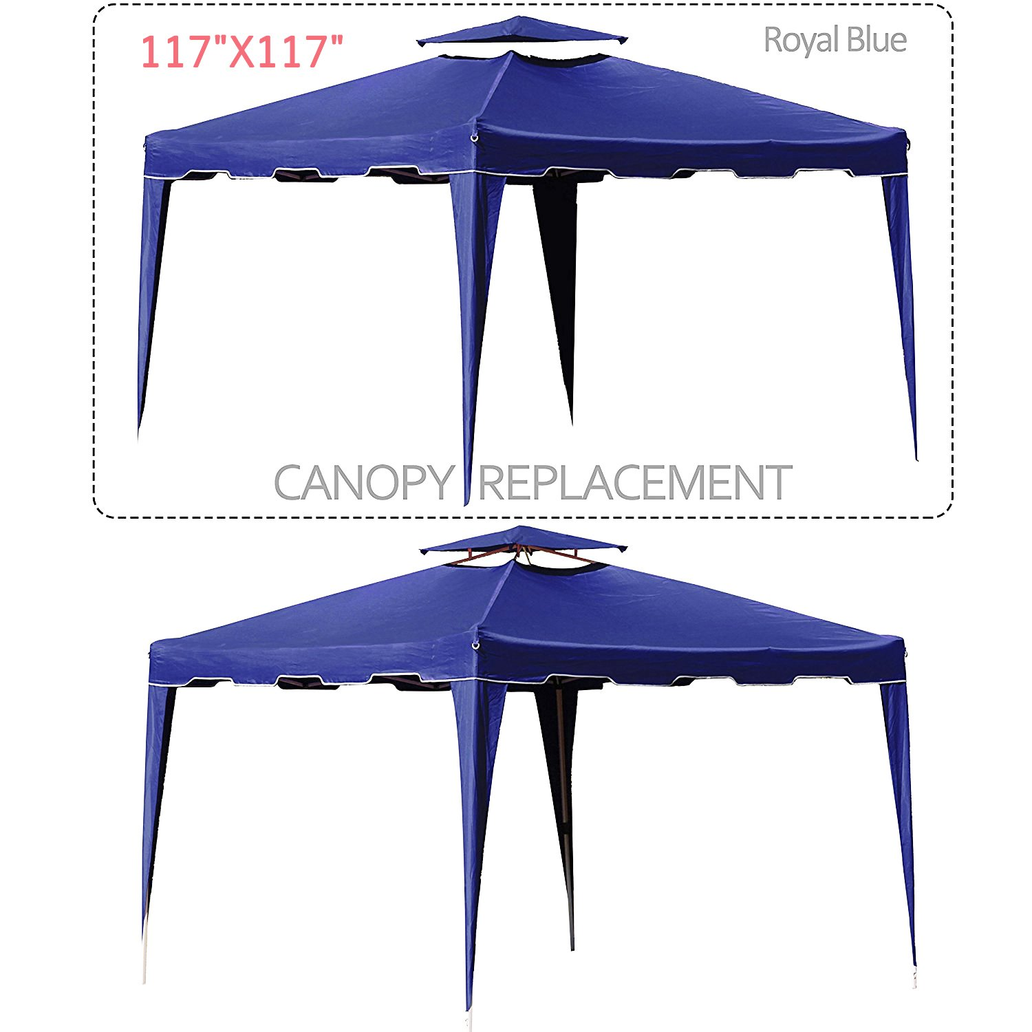 Cloud Mountain 117'' X 117'' Gazebo Replacement Canopy Top Cover, 2-tier UV Protect Resist Light Rain for Outdoor Patio Lawn Sun Shade Tent, Royal Blue (Only Replacement Cover)