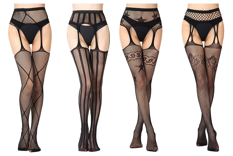 JTAISC 4 Pairs Womens Fishnet Suspender Pantyhose Thigh High Stockings Garter Belt