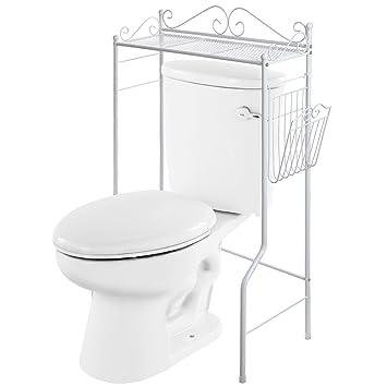 VANRA Bathroom Spacesaver Metal Storage Organizer Rack Freestanding Bathroom Shelf with Magazine Basket  White. Amazon com  VANRA Bathroom Spacesaver Metal Storage Organizer Rack