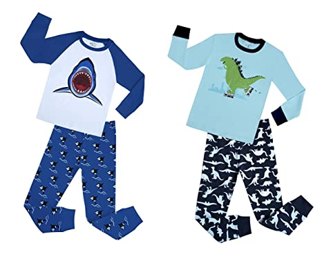 com boys shark and dinosaur piece pajamas set children  boys shark and dinosaur 4 piece pajamas set children cotton sleepwear pant suit blue