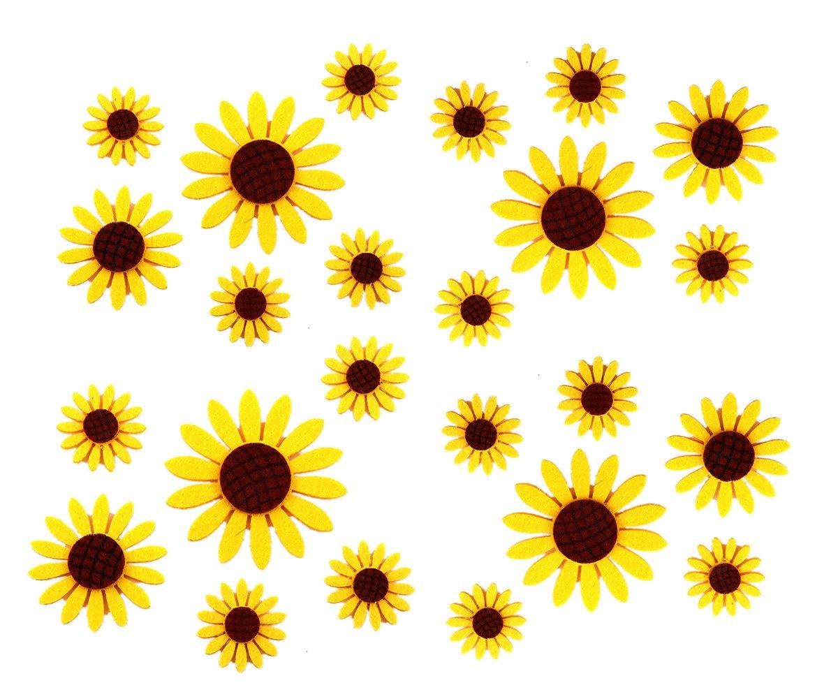 Assorted 3 Sizes 30pcs Sunflowers Felt Patch Applique Felt Scrapbooking Non-woven Stickers Sew on Applique Felt Pads for DIY Craft Making Sewing Handcraft Decoration