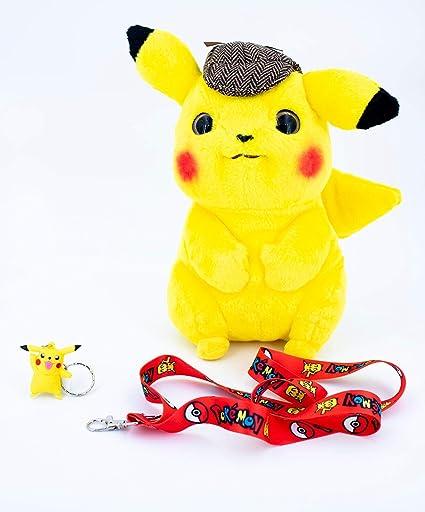 Amazon Com Detective Pikachu Pokemon Plush Large 10 Inch Plush Bundle Toys Games