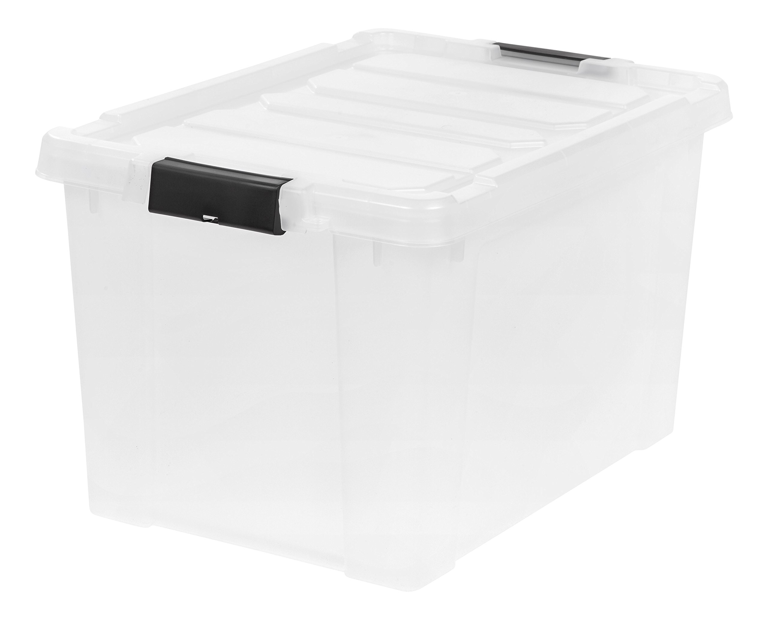 IRIS 19 Gallon Store-it-All Heavy Duty Stackable Utility Tote, Clear with Black Buckle