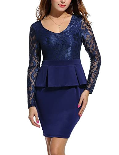 Angvns Women's V Neck Long Lace Sleeves Peplum Business Pencil Dress