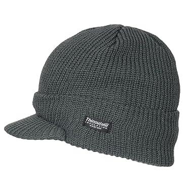 96997143bee Mens Winter Warm Ribbed Thermal Fleece Lined Outdoor Ski Peak Beanie Hat  Dark Grey  Amazon.co.uk  Clothing