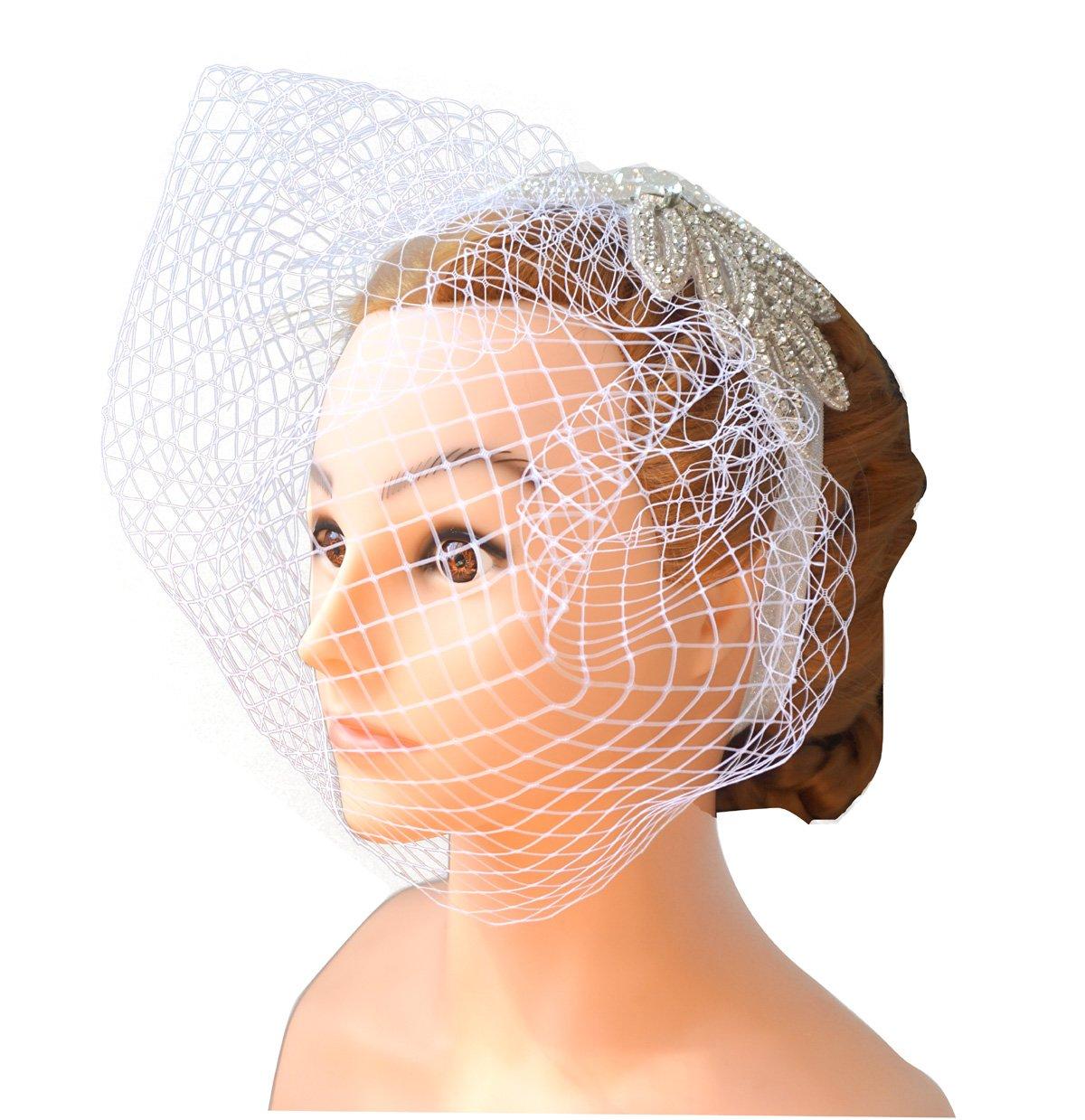 Blank K Bandeau Veil Bridal Birdcage Face Veil Carnival Derby Tea-Party Facsinator Mini Hat (White)
