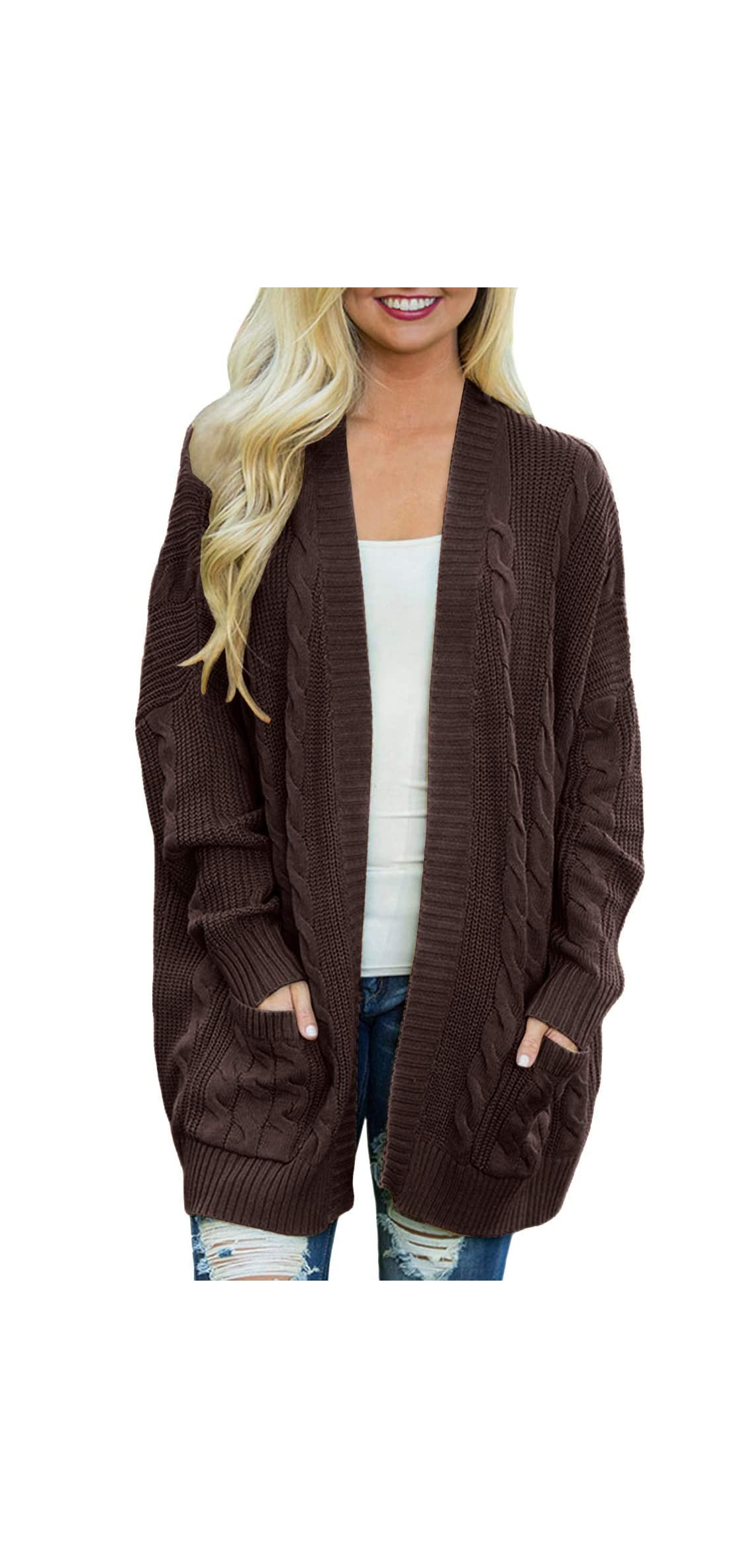 Women's Oversize Open Front Long Sleeve Cardigan Cable