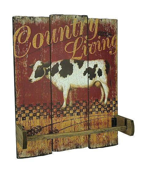 """Soporte para toallas de papel de madera, diseño vintage de granja con texto en inglés"""""""
