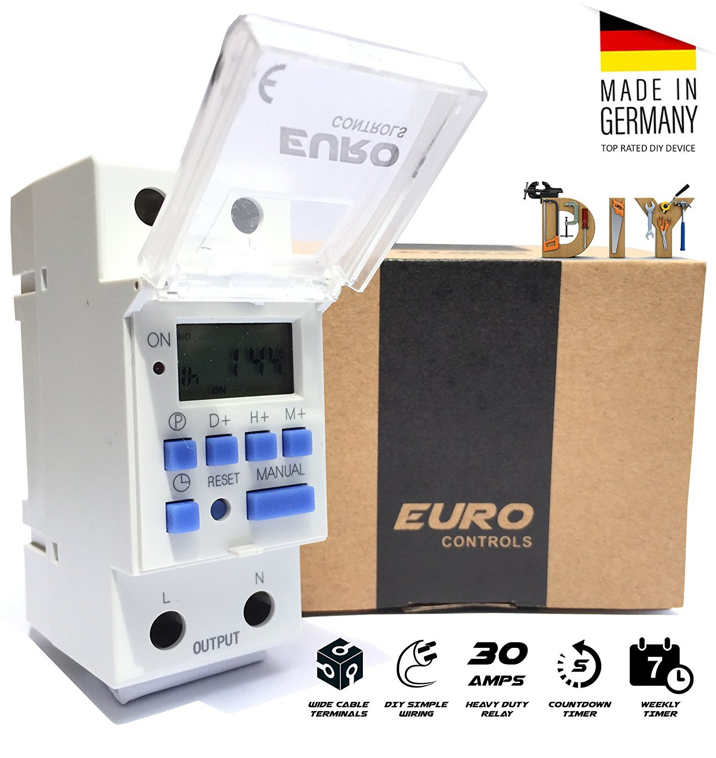 Euro Din Type Digital Timer Controller Made In Germany Programmable Shop Vac For On And Off Switch Wiring Diagram Daily Weekly Rail Mounting Home Improvement