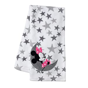 Lambs & Ivy Disney Baby Minnie Mouse Fleece Baby Blanket, Gray/White