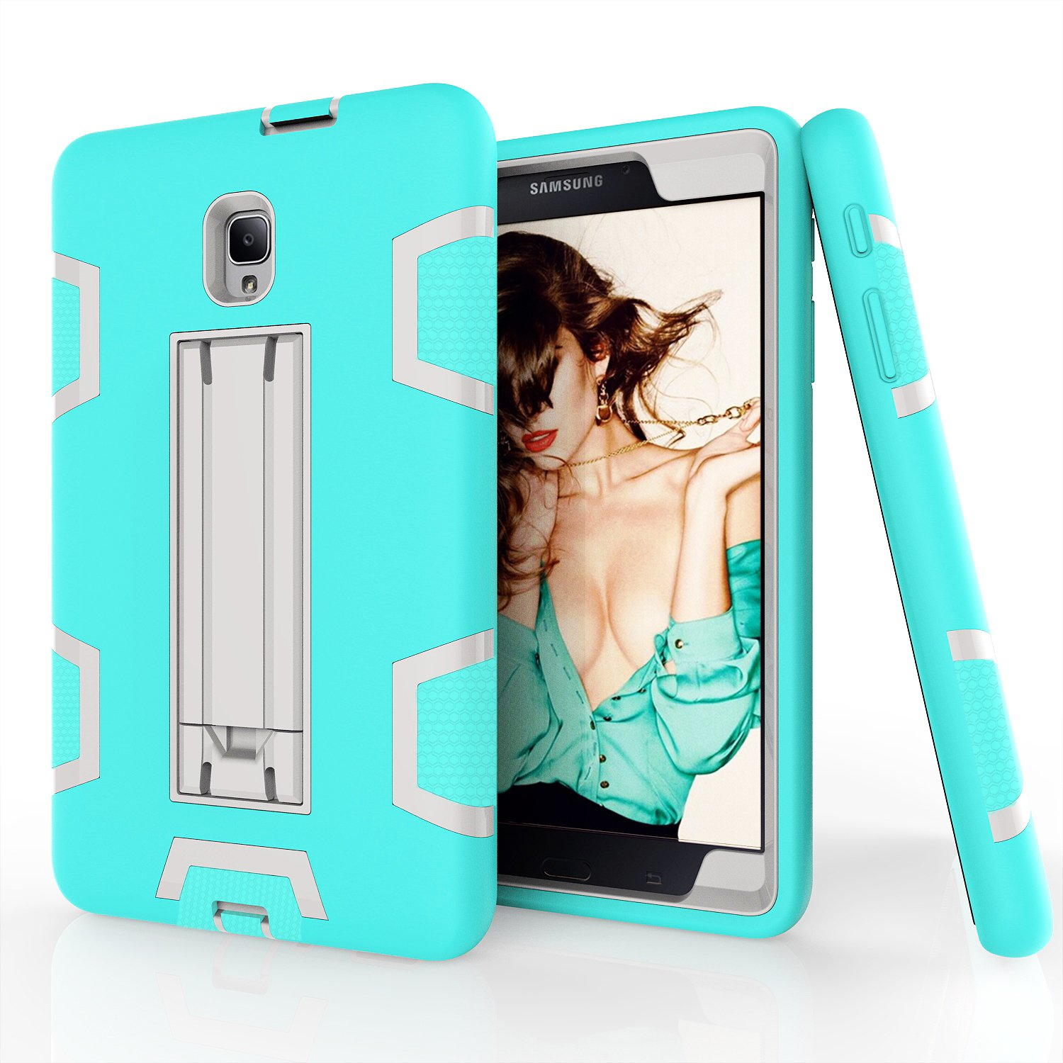 Hansin Samsung Galaxy Tab A 8.0 2017 Case, [Kickstand] Three Layer Hybrid Heavy Duty Full-Body Shockproof Anti-Slip Protective Case for Tab A 8.0 2017(SM-T380/T385) Tablet (Black/Aqua)