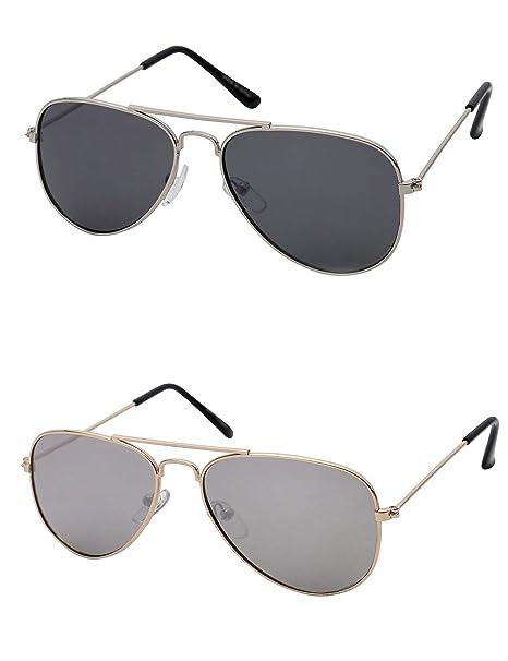 bb90dc68d8 Kids Aviator Sunglasses For Boys And Girls Glasses Silver Lens Black Bulk