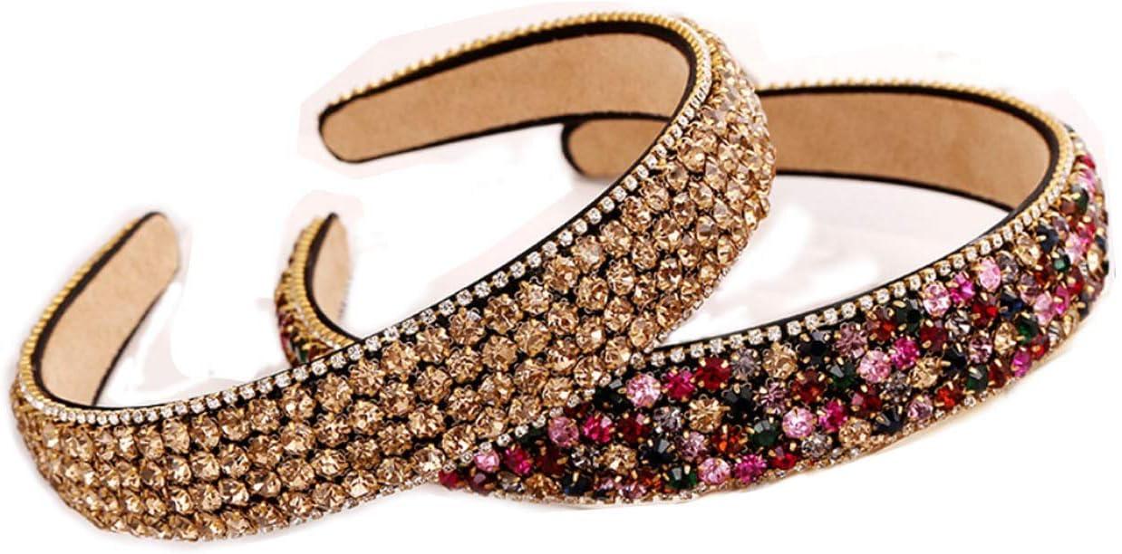 Diademas Anchas para Mujer y Niñas de Colores Variados y Tejido con Relieve Diademas a la Moda para Cualquier Ocaciones (2 Pcs de Cristales)