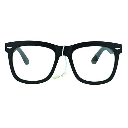 0ce9f1f1a16 Retro Trendy Oversize Horned Rim Hipster Plastic Clear Lens Eye Glasses  Frame Matte Black