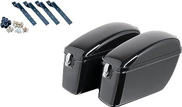 Size Black Customaccess AMZ006N Rigid Saddlebags Customacces American Model ARS006N with Universal Brackets KF0002N