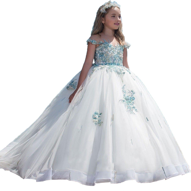 Communion Dress White Organza Ball Gown Boat Neck Sleeveless Floor Length