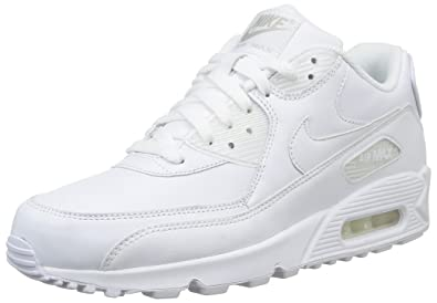 56c6d7e1c0 Nike Air Max 90 Leather 302519-113 Triple Everything White Men's Running  Shoes (Size