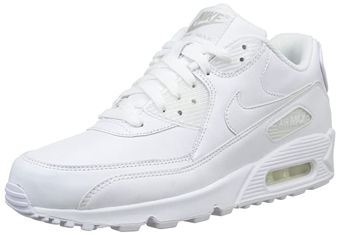 new style 7aff0 363e2 Amazon.com   NIKE Air Max 90 Mens Leather Running Shoes White Casual  Classic Retro Throwback Sneakers   Road Running