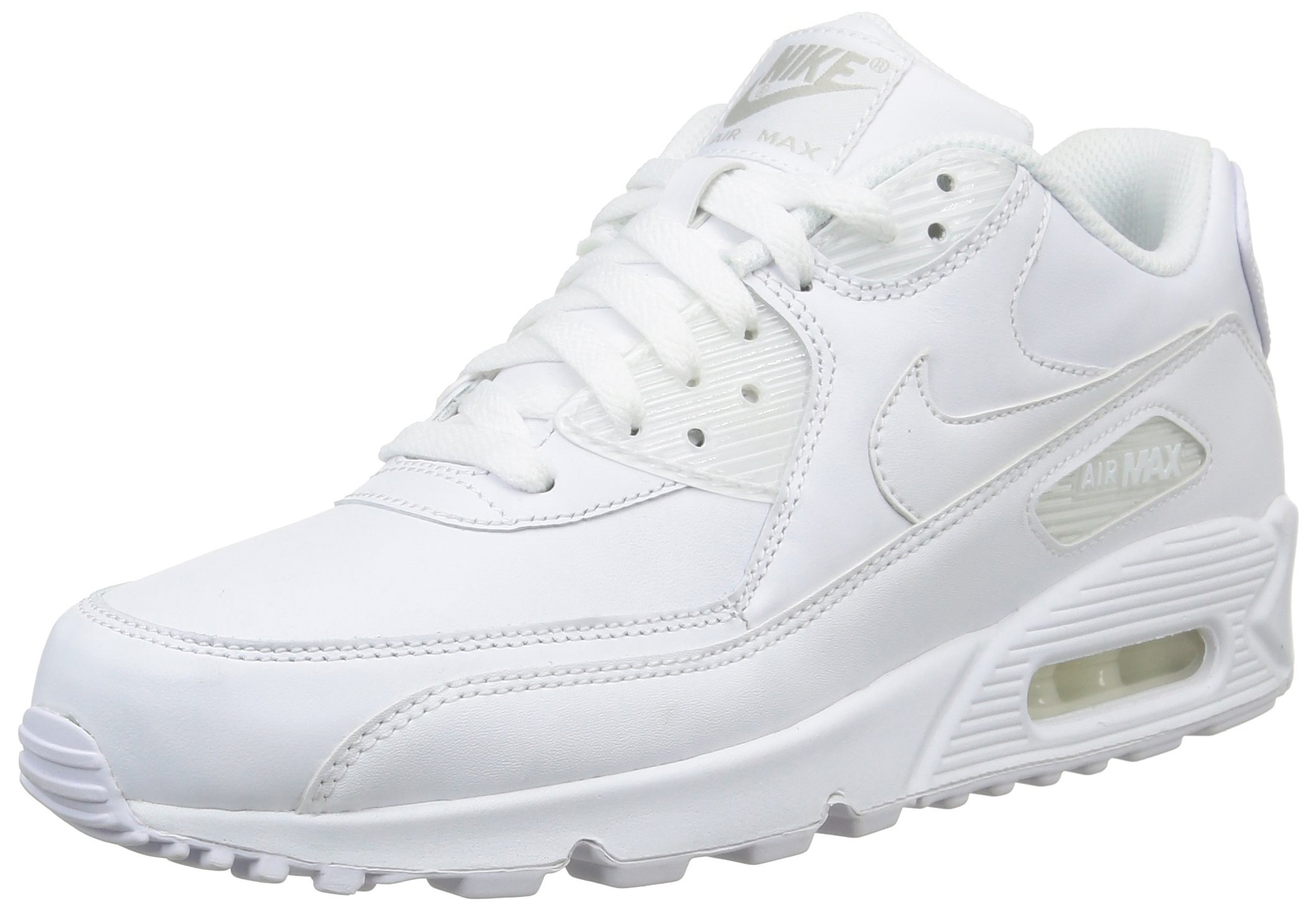 Nike Men's Air Max 90 Leather, White/White, 12.5 M US