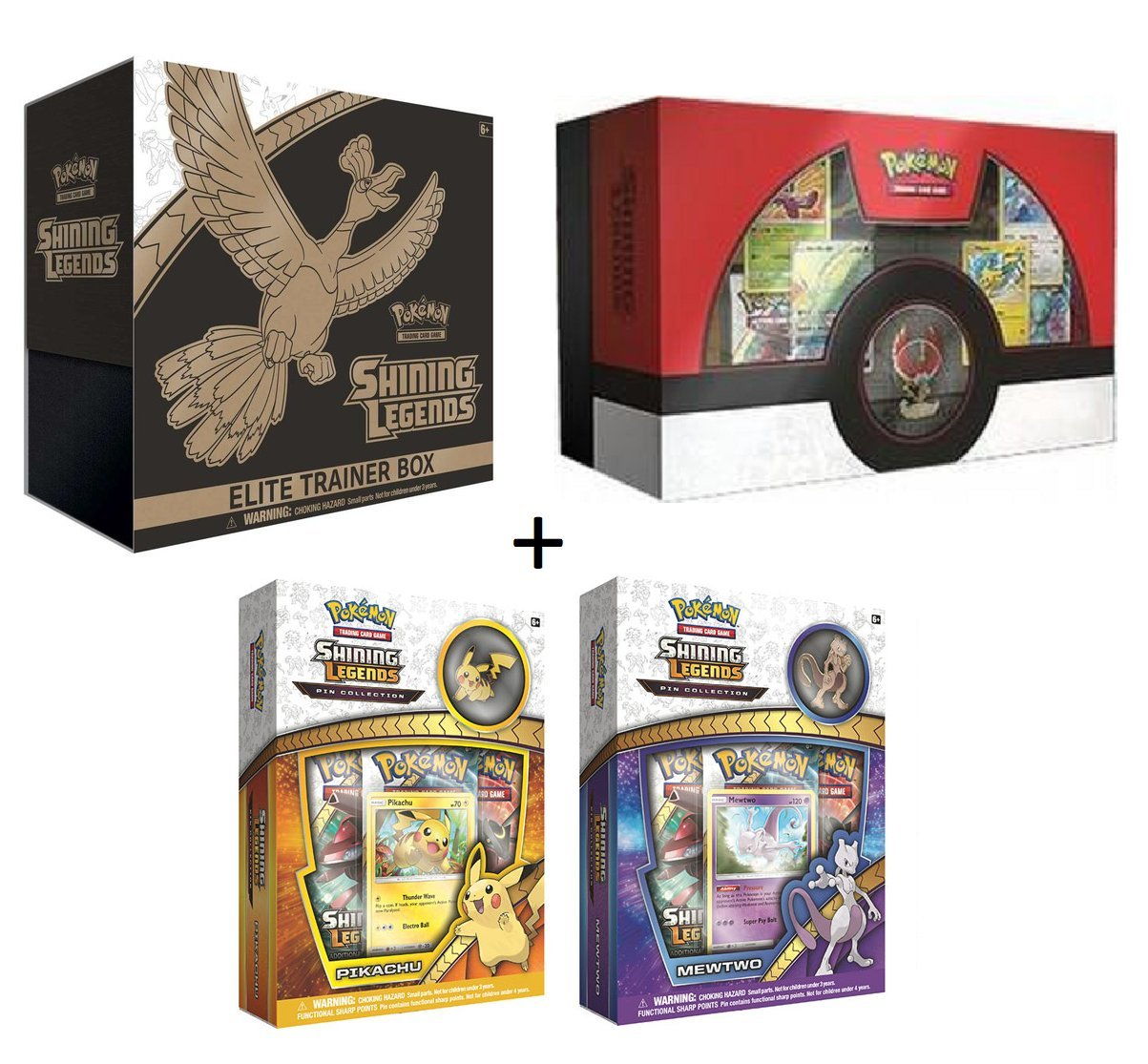 Pokemon TCG: Shining Legends Complete Collectors Set (Super Premium Ho-Oh Collection Box, Elite Trainer Box, MewTwo & Pikachu Pin Collector Boxes) by unbranded