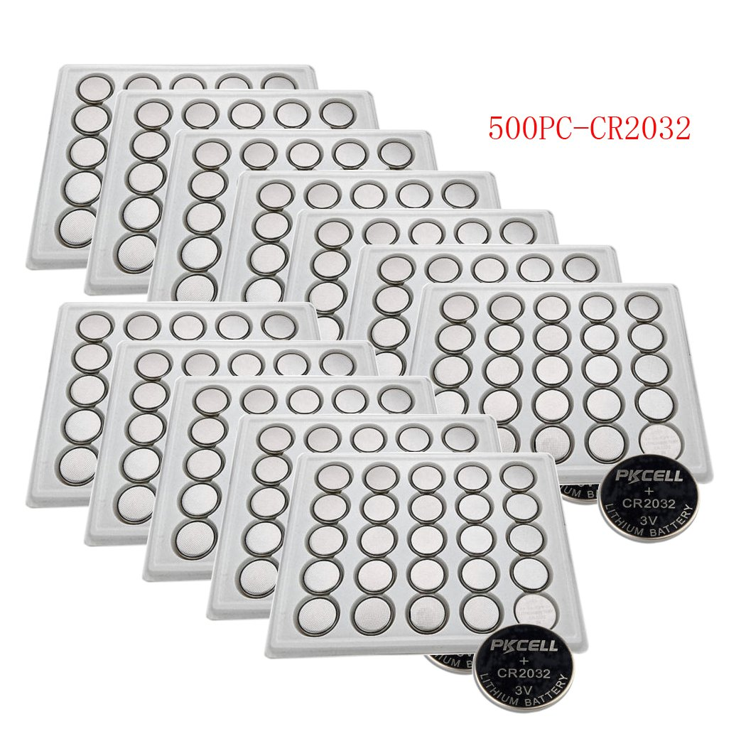 CR2032 ECR2032 2032 Button Coin Cell Battery 3v Voltage Count Pcs (500) by PK Cell