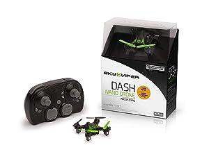 Sky Viper Dash Nano Drone, Black/Green, 2 x 2 x 0.75
