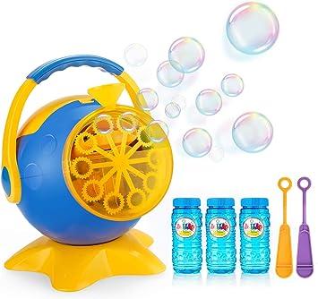 apiker Maquina de Burbujas para Niños Maquina Pompas Jabon,con 3 Botellas de Jabon Pompas Líquido,2 Varitas Burbujas y 1 Cargador,para Bodas,Cumpleaños etc.Alrededor de 800 + Burbujas por Minuto: Amazon.es: Juguetes y juegos