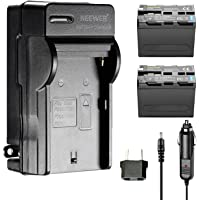Neewer 2 Piezas de Recambio 6600mAh Batería Sony NP-F970 batería de Li-Ion y Cargador de Pared AC, Adaptador UE y Coche Neewer CN160 NW759 74K 760 FW759 74K 760 y Otros LED Video Luces o monitores