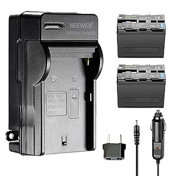 Neewer 2 Piezas de Recambio 6600mAh Batería Sony NP-F970 batería de Li-Ion y Cargador de Pared AC, Adaptador UE y Coche Neewer CN160 NW759 74K 760 ...