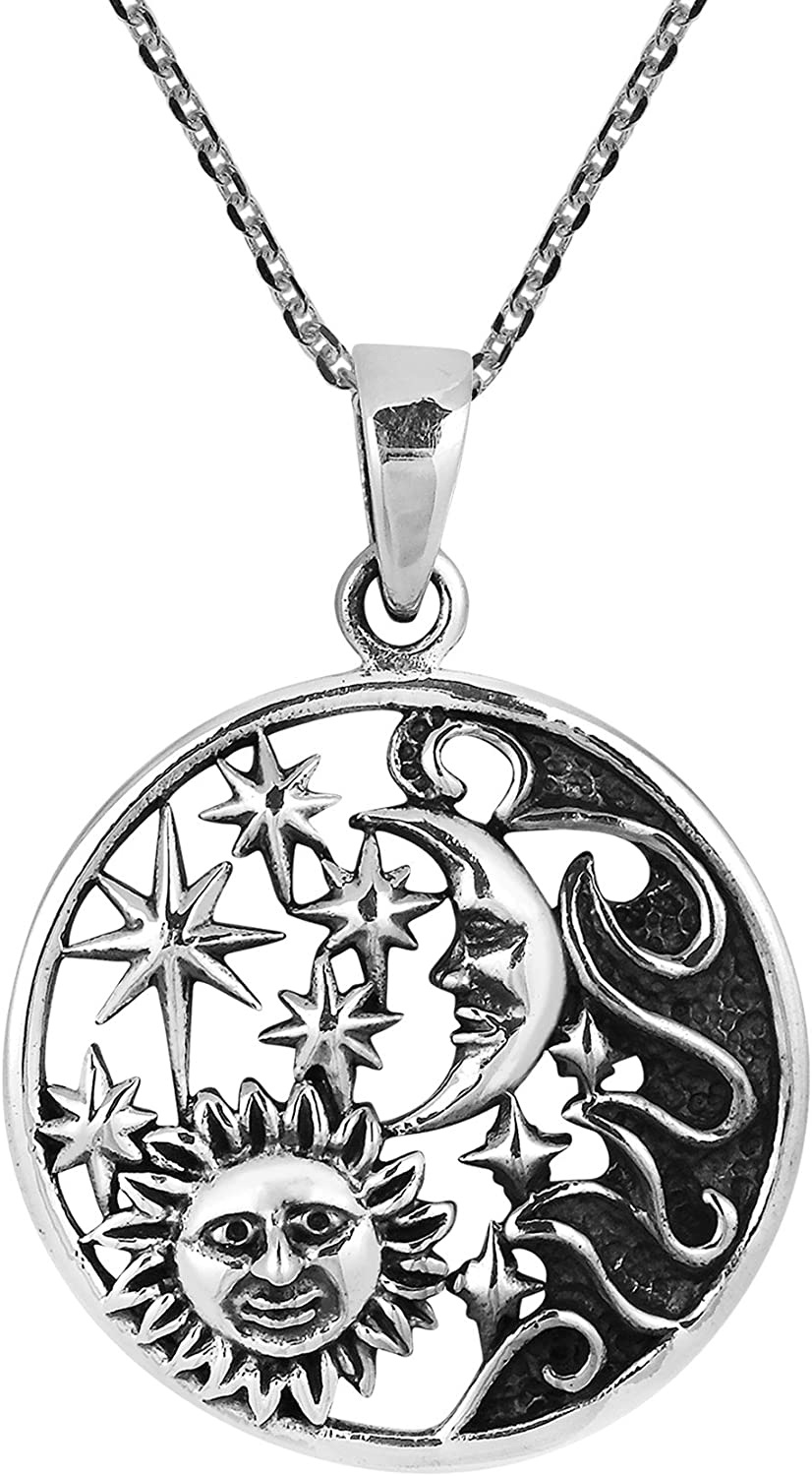 AeraVida Celestial Amulet Sun Moon and Star .925 Sterling Silver Pendant Necklace
