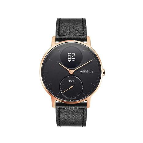 Withings Steel HR Hybrid Smartwatch - Reloj de fitness con frecuencia cardíaca y medición de actividad, 36 mm - negro, correas de cuero negro y ...