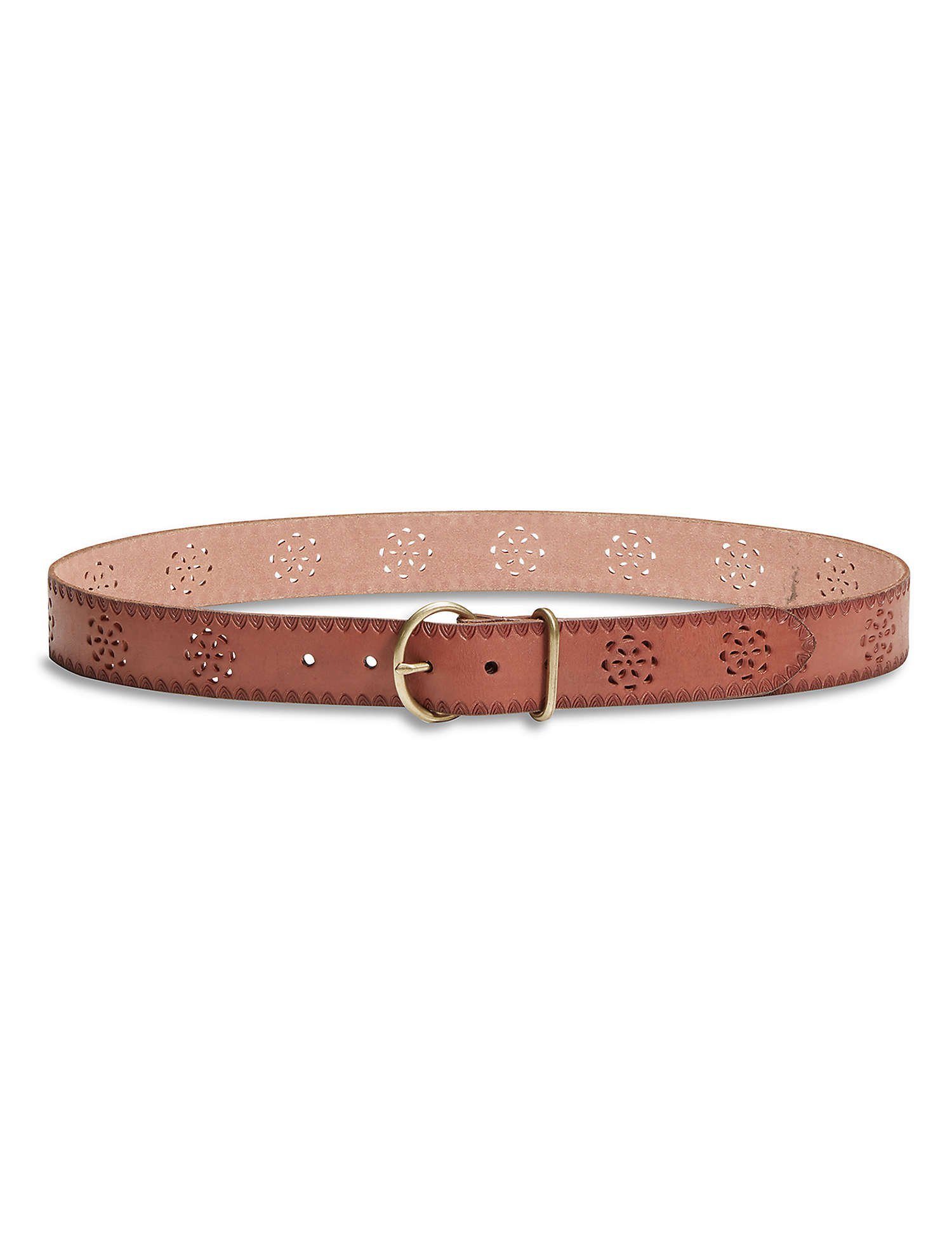 Lucky Brand - Women's - 1.5'' Floral Tool Perforated Cut-Out Brown Leather Belt (X-Small)