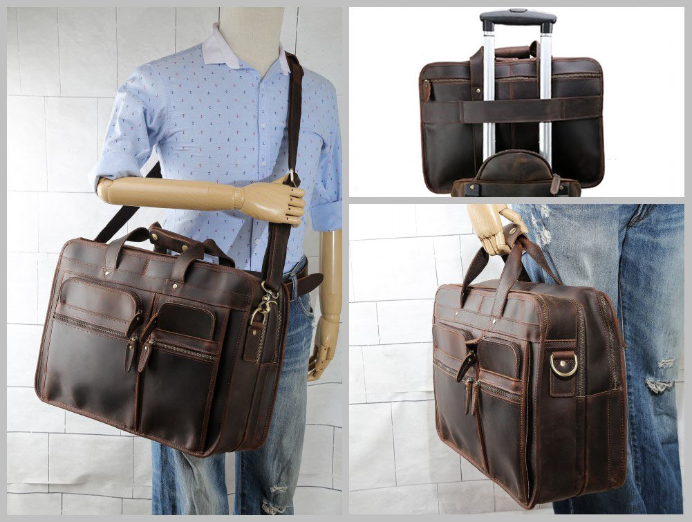"""Tiding Cowhide Leather Vintage Laptop Bag – Durable, Spacious, Stylish Carry On Business Bag – Fits 17.3"""" Laptop – Perfect for The Busy Businessman by Tiding (Image #5)"""