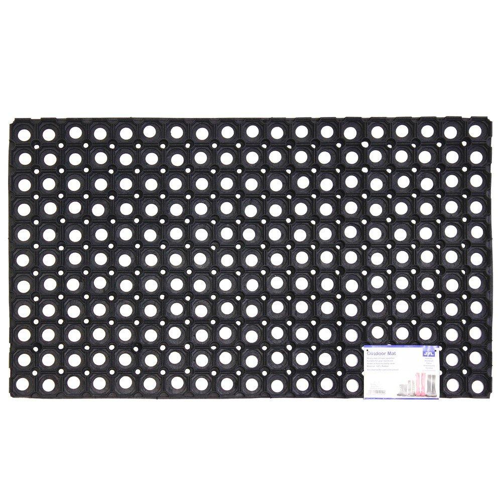 JVL Rondo Rubber Ring Heavy Duty Outdoor Contract Door Mat, Black, 50 x 100 cm 01-095