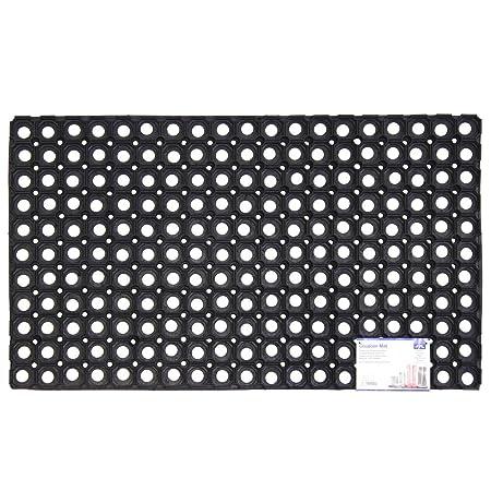 JVL Rondo Rubber Ring Heavy Duty Outdoor Contract Door Mat, Black, 50 X 100