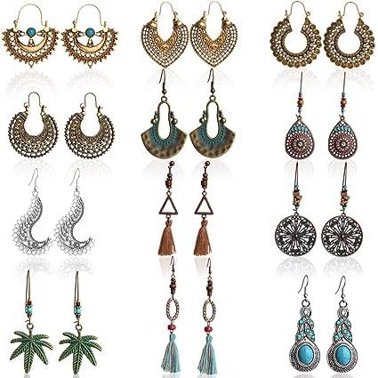 0cf22b0088b7c Outee 12 Pairs Vintage Dangle Earrings Bohemian National Style Earrings  Hollow Water Drop Heart Shaped Alloy Long Boho Dangle Earrings Fashion  Pendant ...
