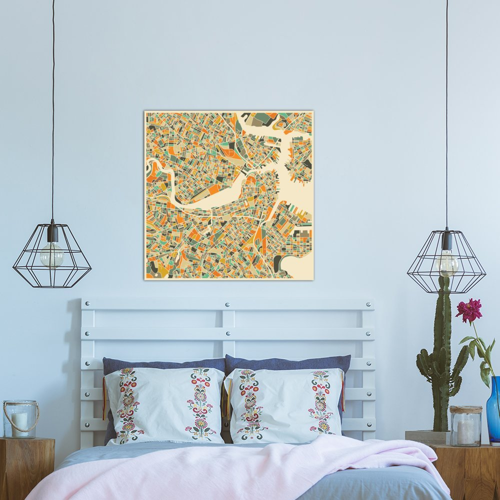 iCanvasART Abstract City Map of Boston Canvas Print 26 x 26
